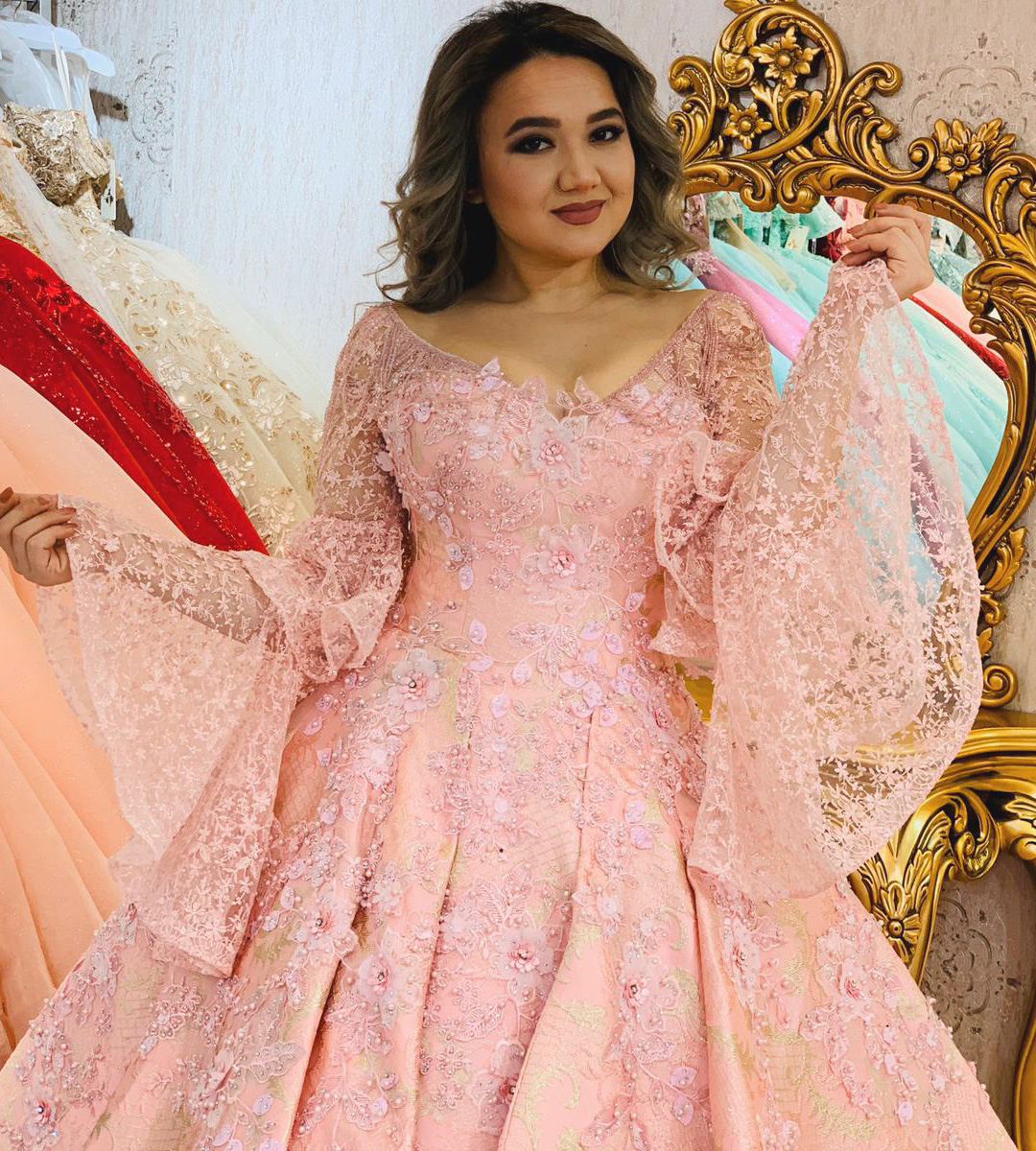 Peach Pink Prom Gown