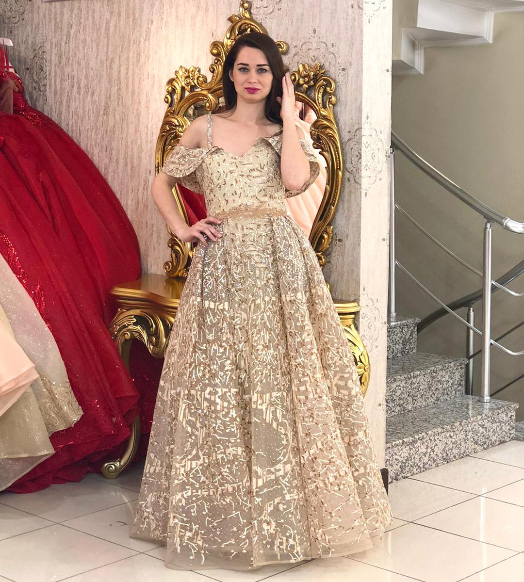 Luxury Golden Evening Dress